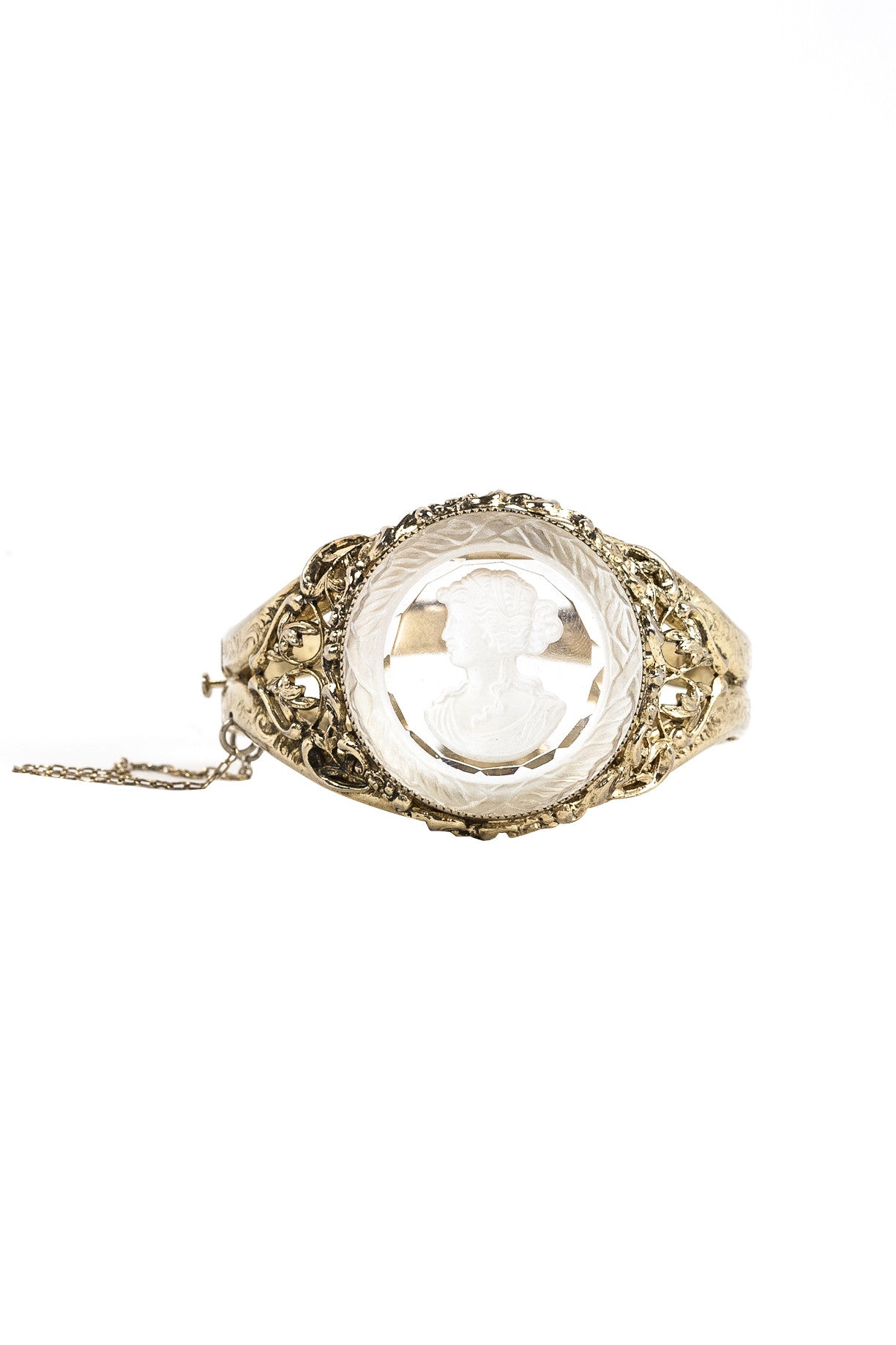50's__Whiting and Davis__Cameo Lucite Statement Bracelet