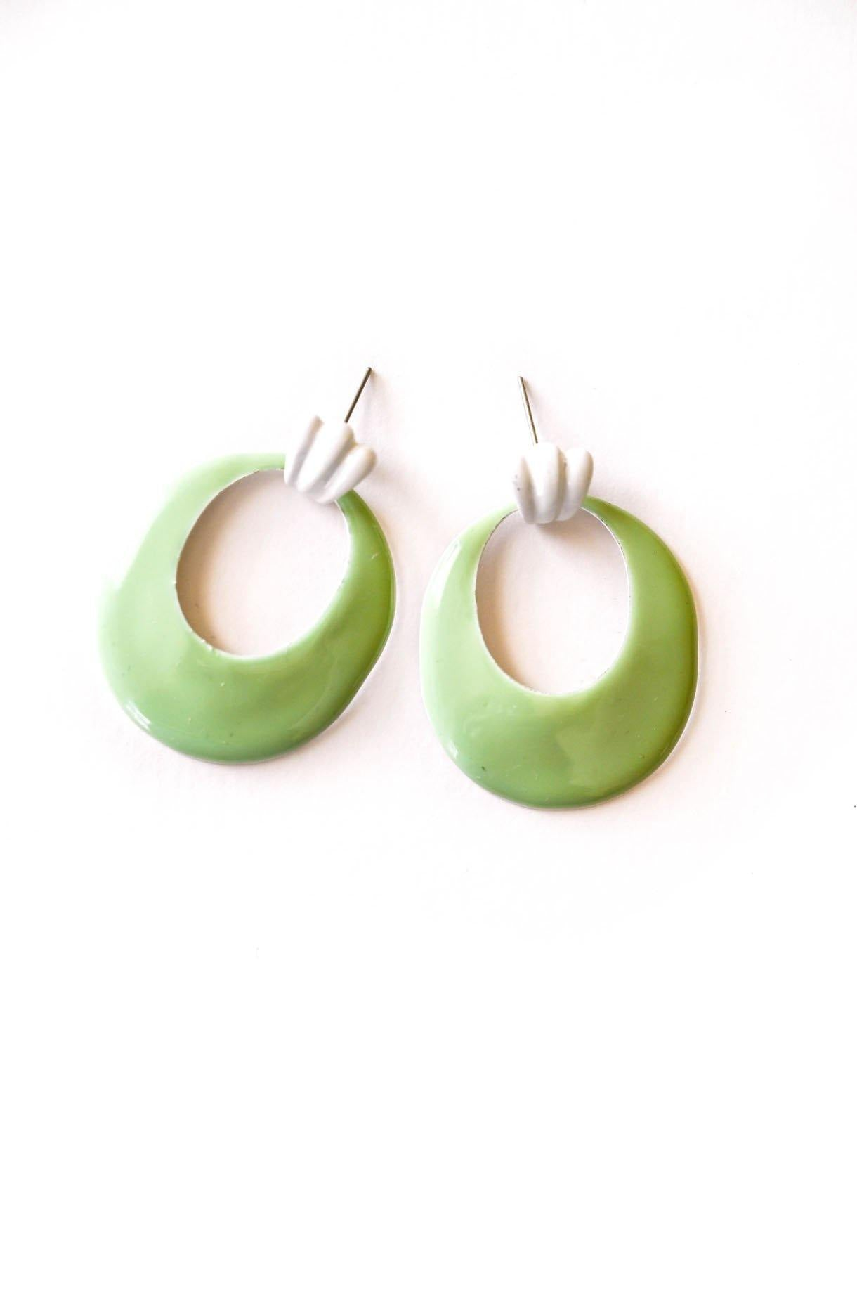 Green Teardrop Pierced Earrings