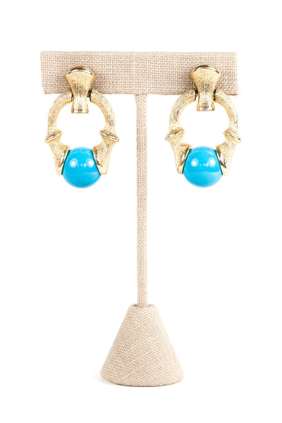 60's__Sarah Coventry__Bamboo Teal Drop Earrings