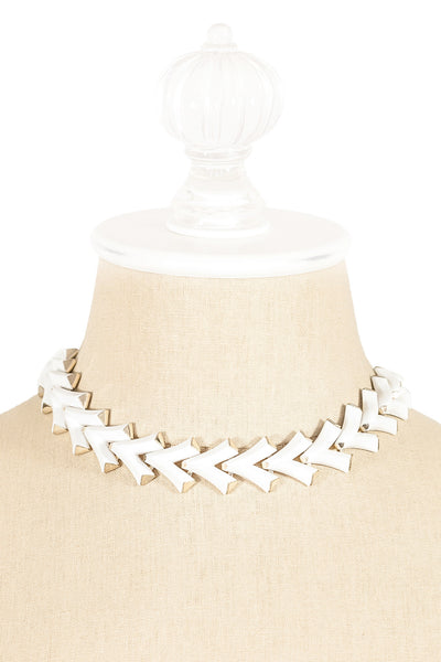 60's__Trifari__White V Link Statement Necklace