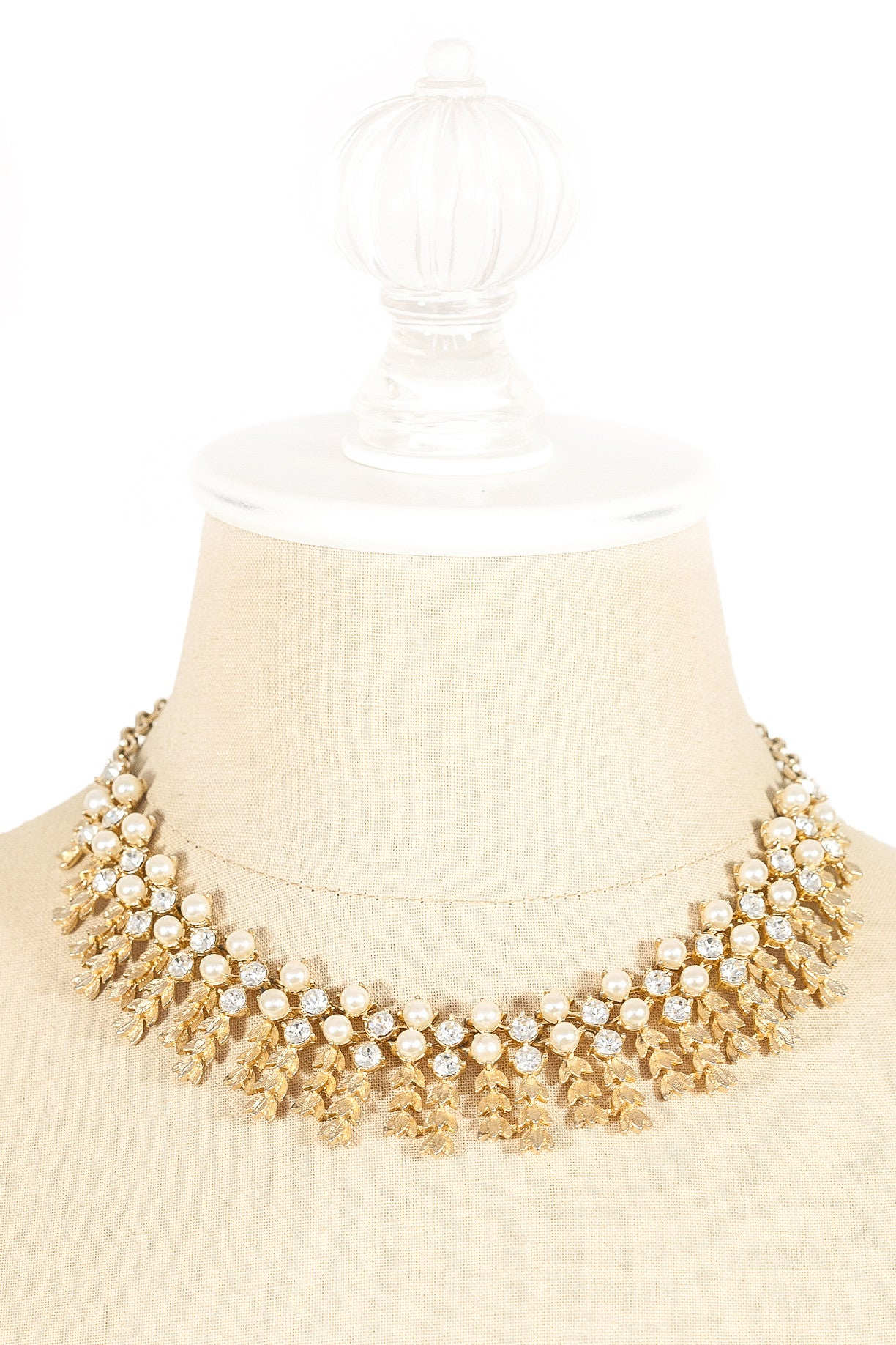 70's__Sarah Coventry__Rhinestone & Pearl Fringe Necklace