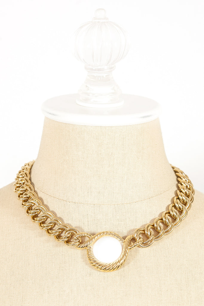 80's__Trifari__Statement White Necklace
