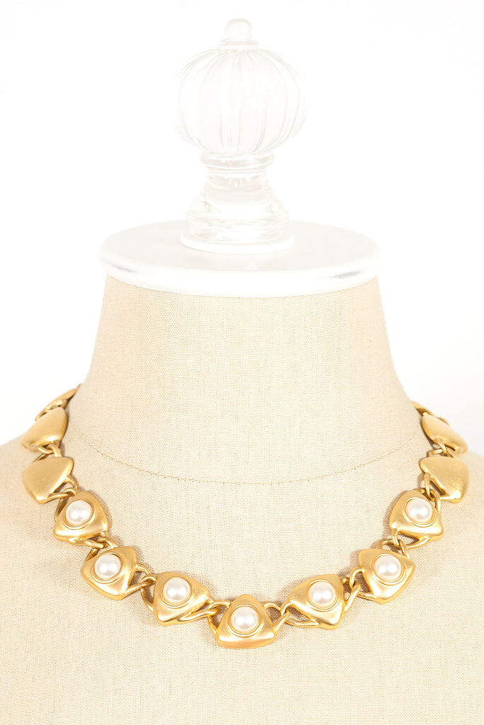 90's__Napier__Pearl Triangle Statement Necklace