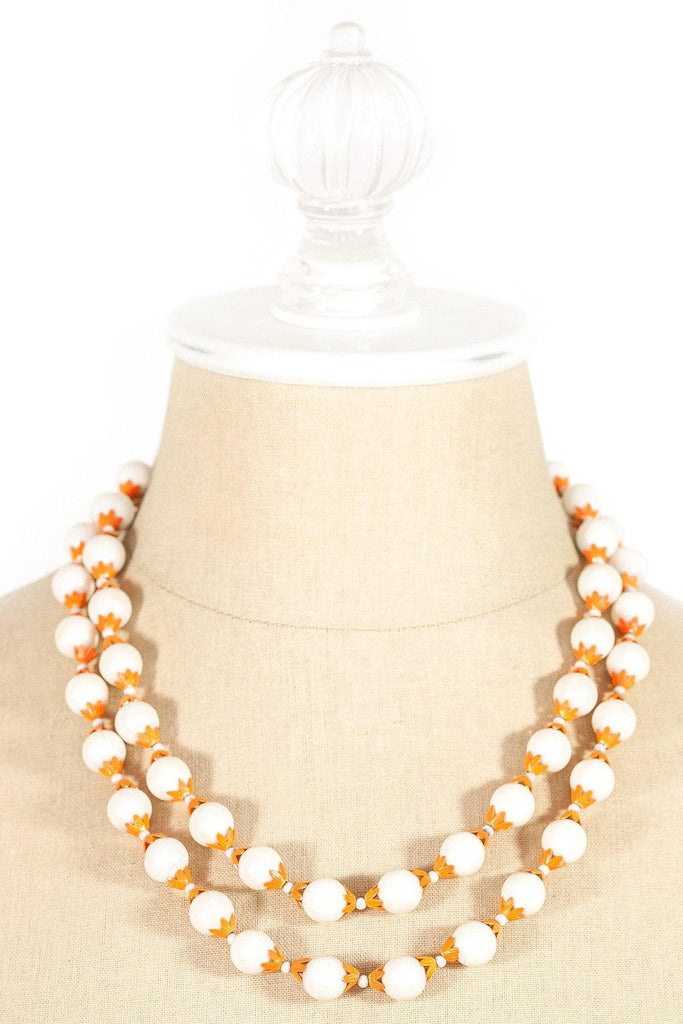 40's__Vintage__White and Orange Ball Necklace