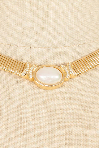 80's__Christian Dior__Pearl Cocoon Statement Necklace