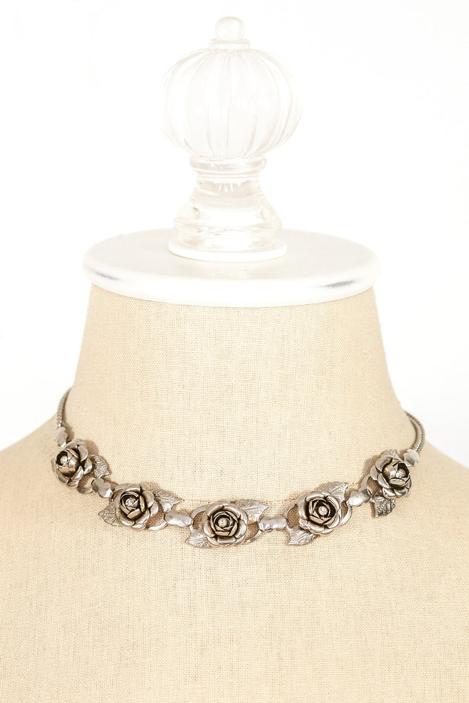 50's__Vintage__Rhinestone Rose Necklace