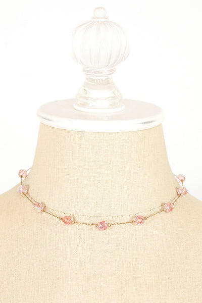 50's__Vintage__Dainty Pink Ball Necklace