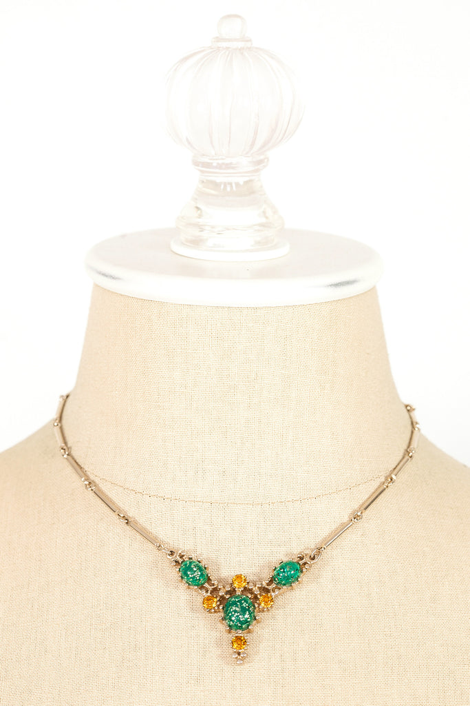 50's__Vintage__Green Bar Necklace