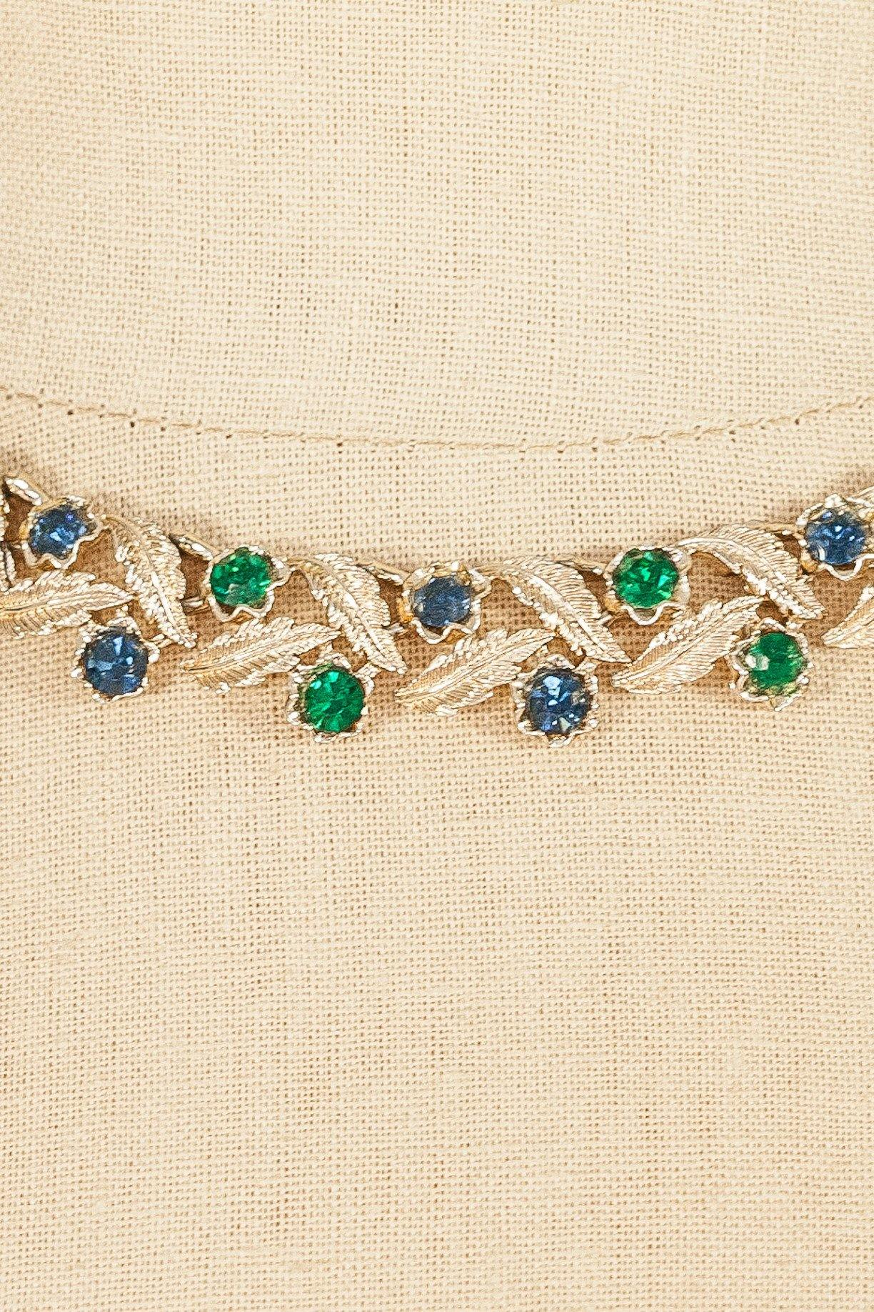 50's__Coro__Rhinestone Leaf Necklace