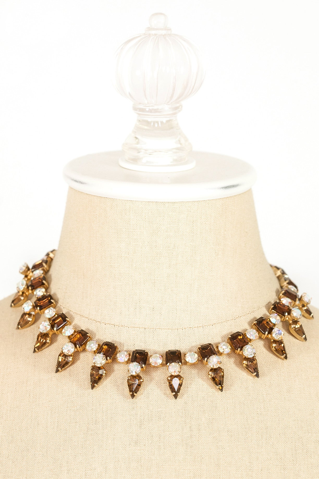 60's__Vintage__Amber Rhinestone Spike Necklace