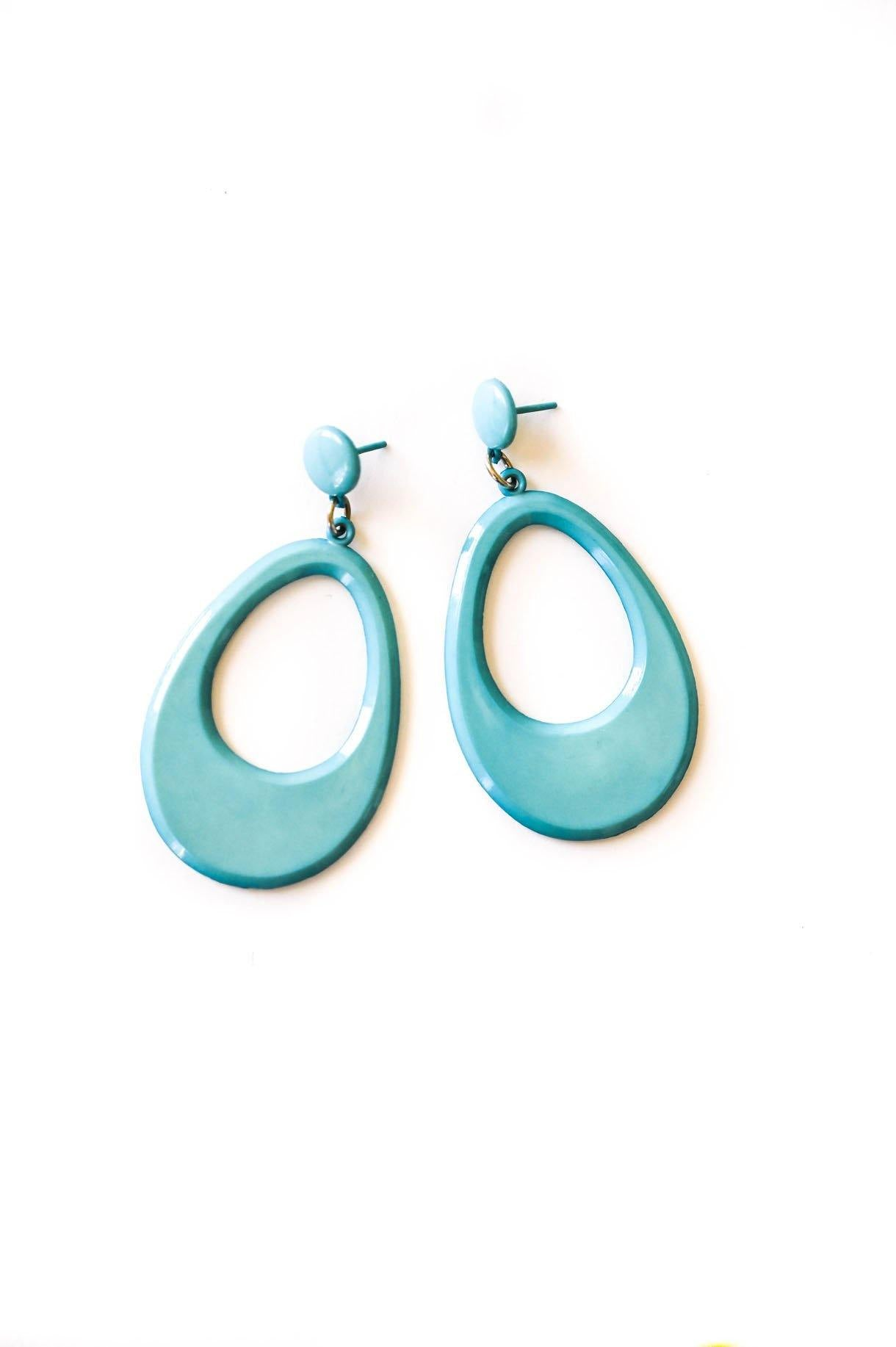 Teal Teardrop Pierced Earrings