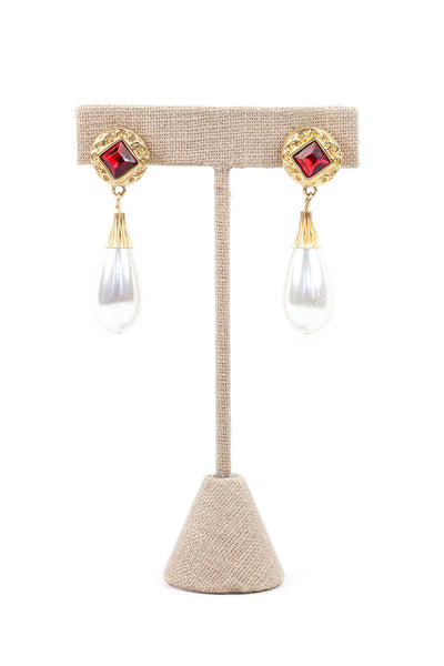 80's__Vintage__Ruby Pearl Drop Earrings