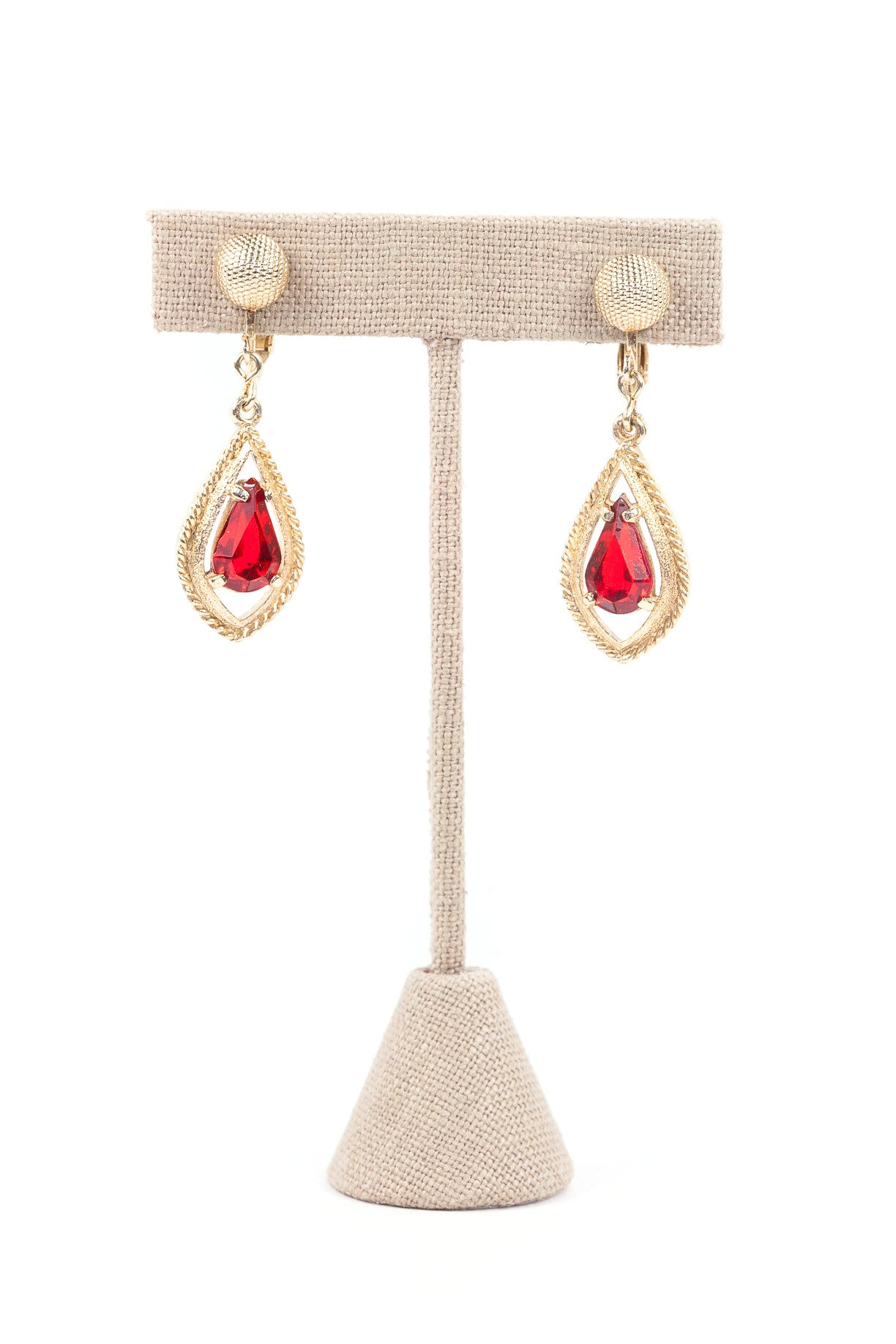 70's__Sarah Coventry__Ruby Drop Clip-on Earrings