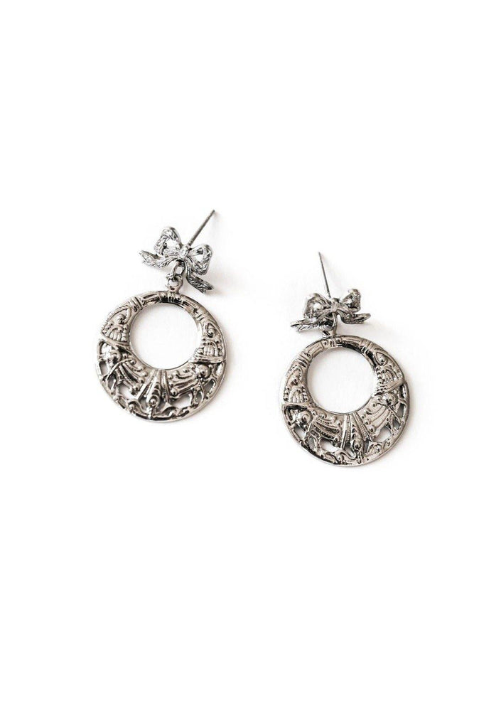 Silver Bow Drop Hoop Pierced Earrings