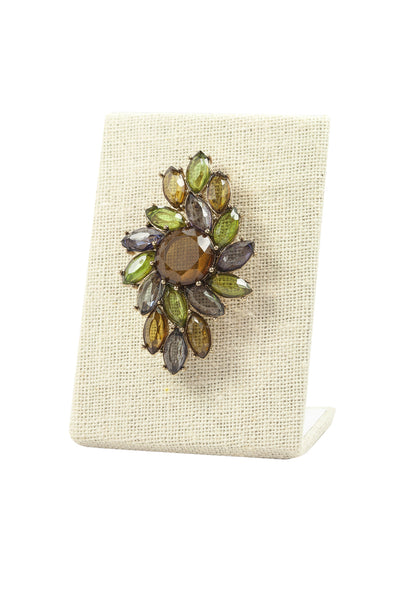 90's__Monet__Earthy Rhinestone Brooch