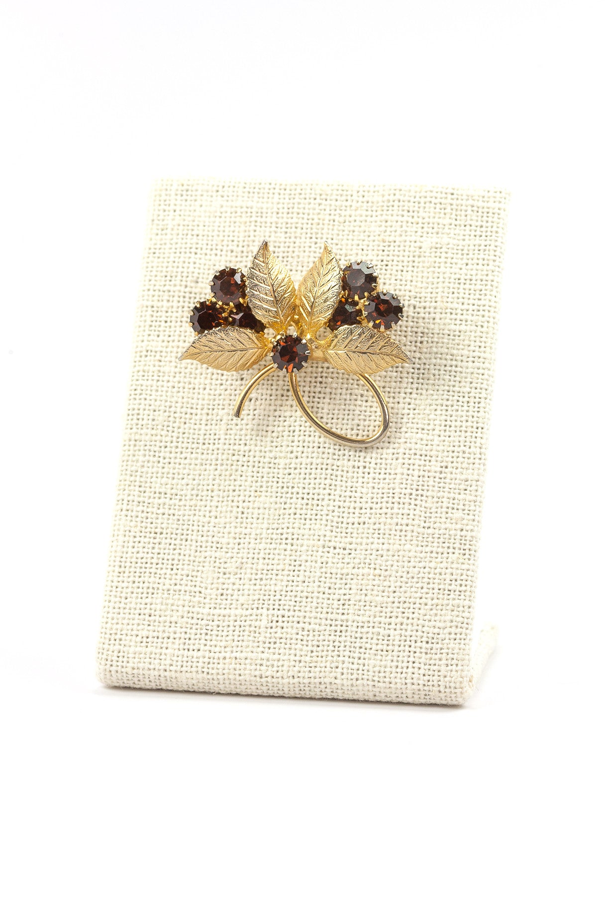 50's__Vintage__Amber Rhinestone Bunches Brooch