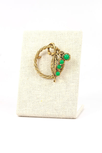 50's__Vintage__Green Feather Brooch