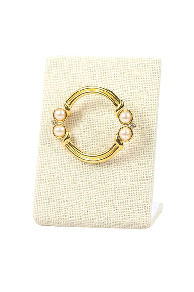 80's__Monet__Pearl Circle Brooch