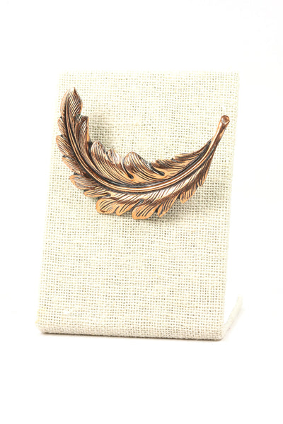 50's__Vintage__Copper Feather Brooch