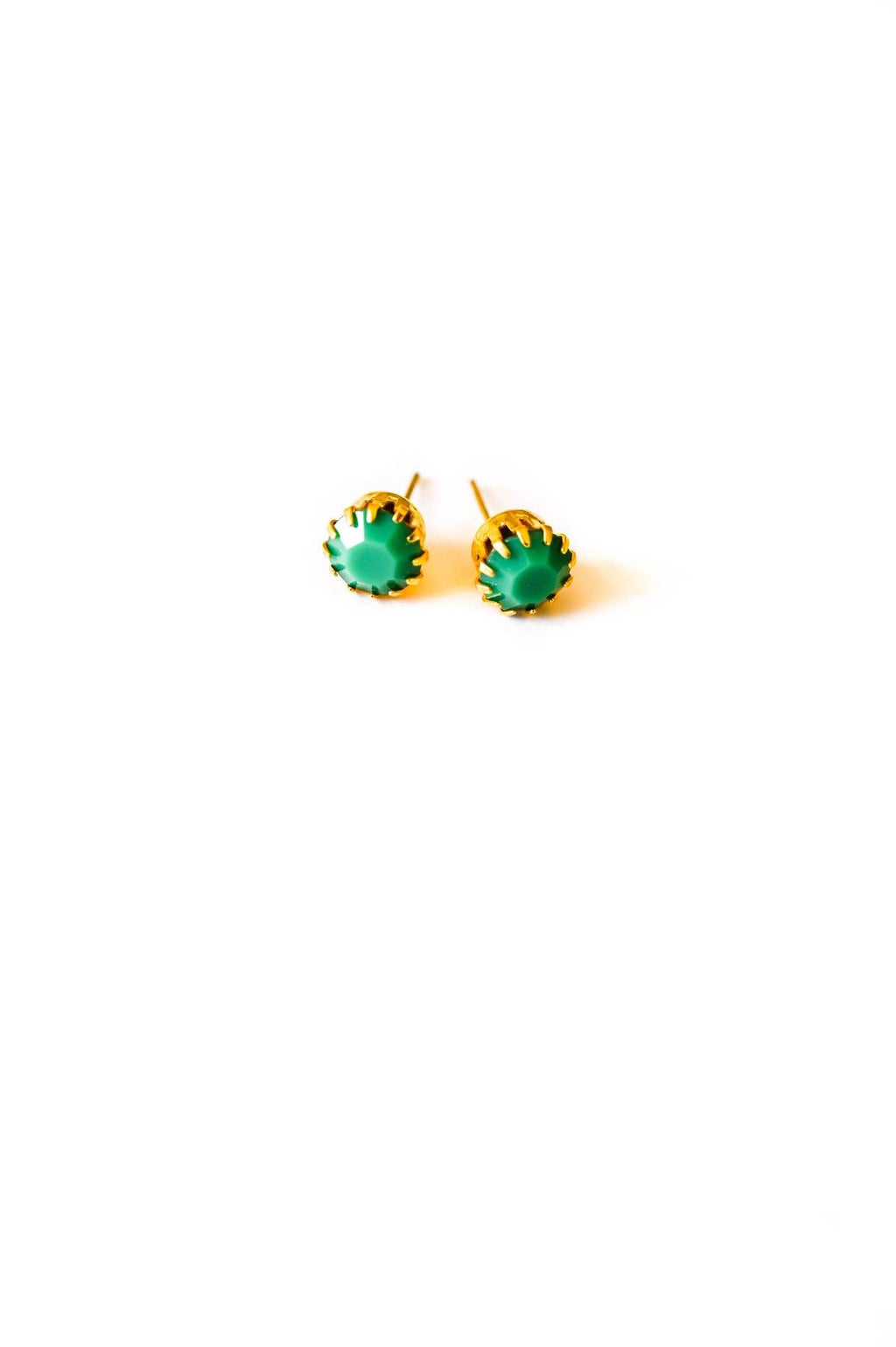 Green Resin Pierced Studs