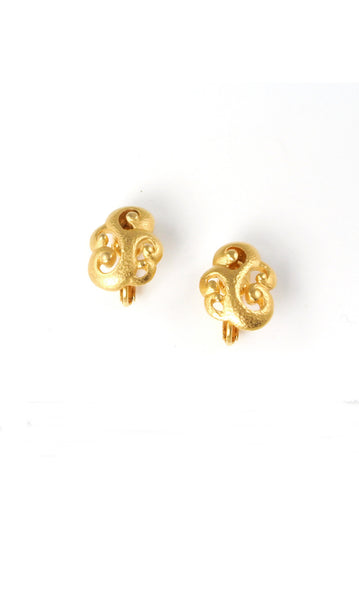 70's__Vintage__Bold Swirl Clip-on Earrings