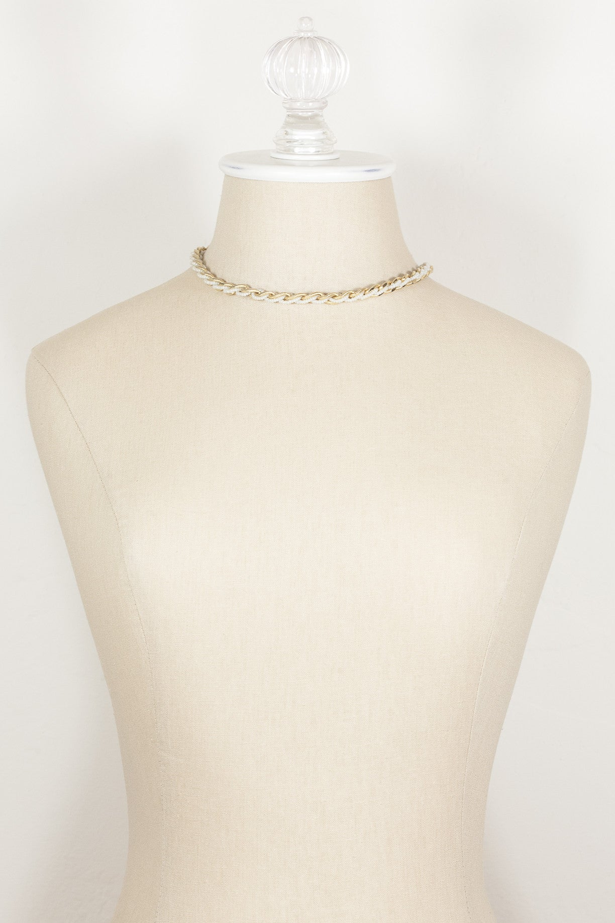 70's__Trifari__Mini Pearl & Gold Link Necklace