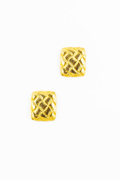 70's__Vintage__Weaved Square Statement Earrings