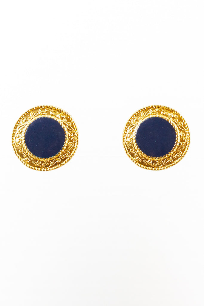 60's__Vintage__Navy & Gold Circle Clips