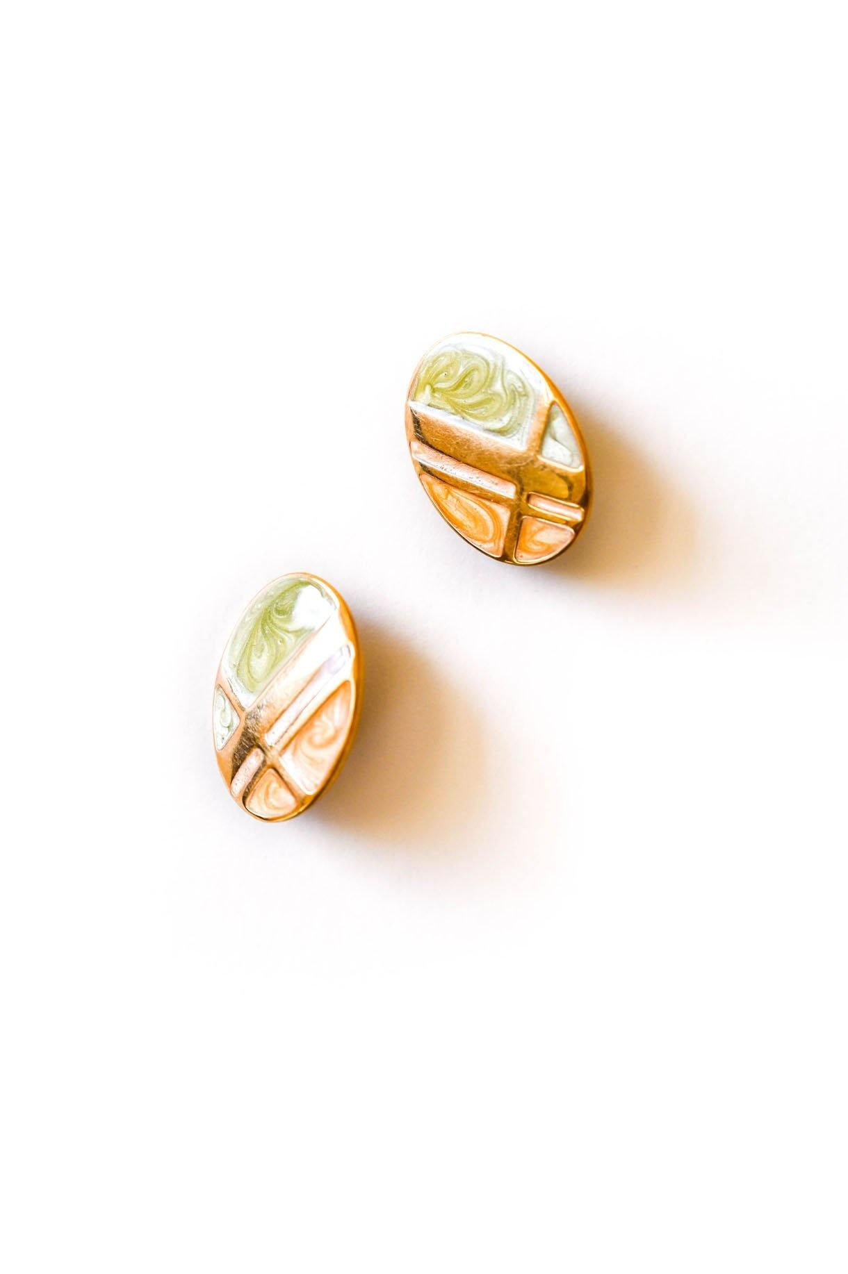 Swirled Enamel Clip-on Earrings - Sweet & Spark