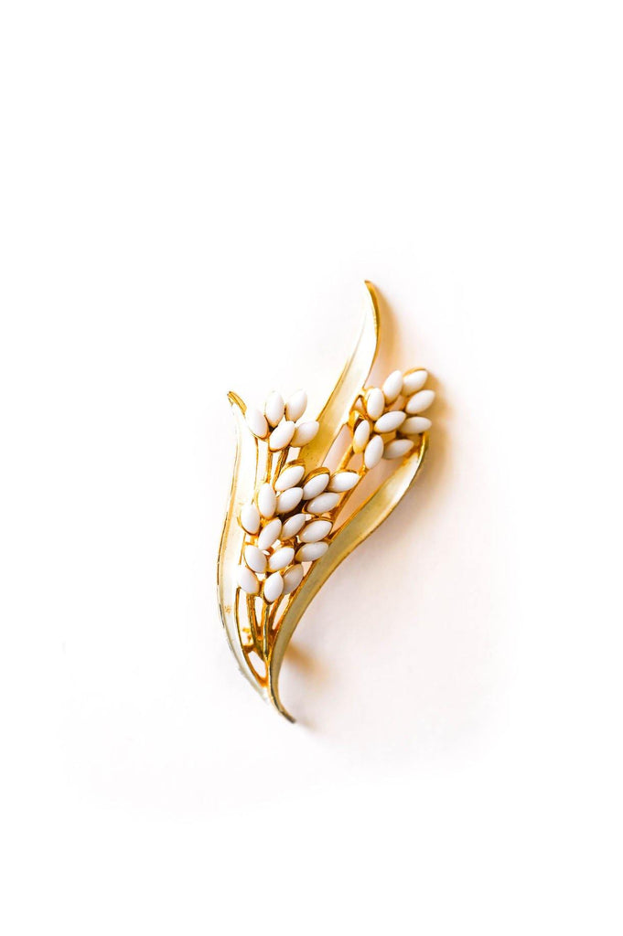 White Leaf Brooch