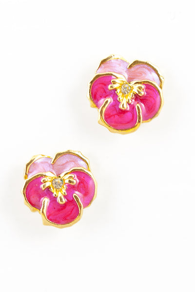 80's__Avon__Pink Flower Stud Earrings