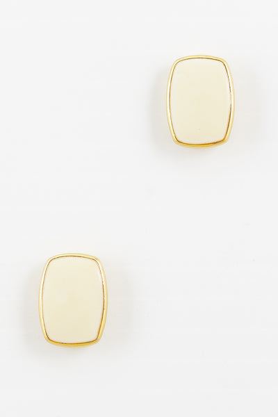 70's__Monet__Cream Rectangle Stud Earrings