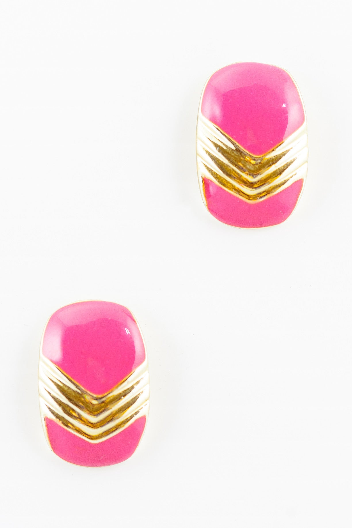 80's__Vintage__Pink Chevron Statement Earrings