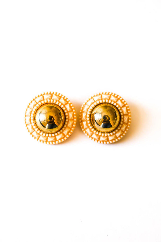 Faceted Gold Clip-on Earrings