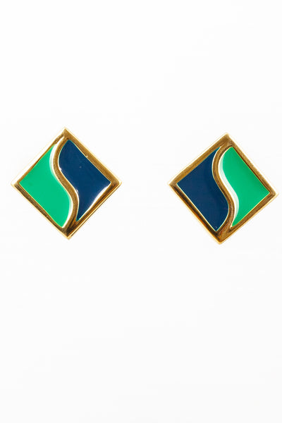 70's__Napier__Green & Blue Square Clip-on Earrings