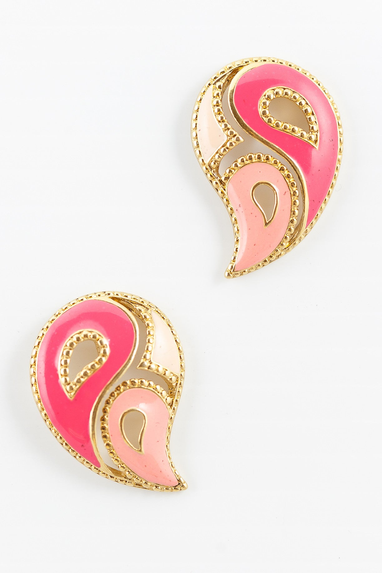 80's__Avon__Pink Paisley Statement Earrings