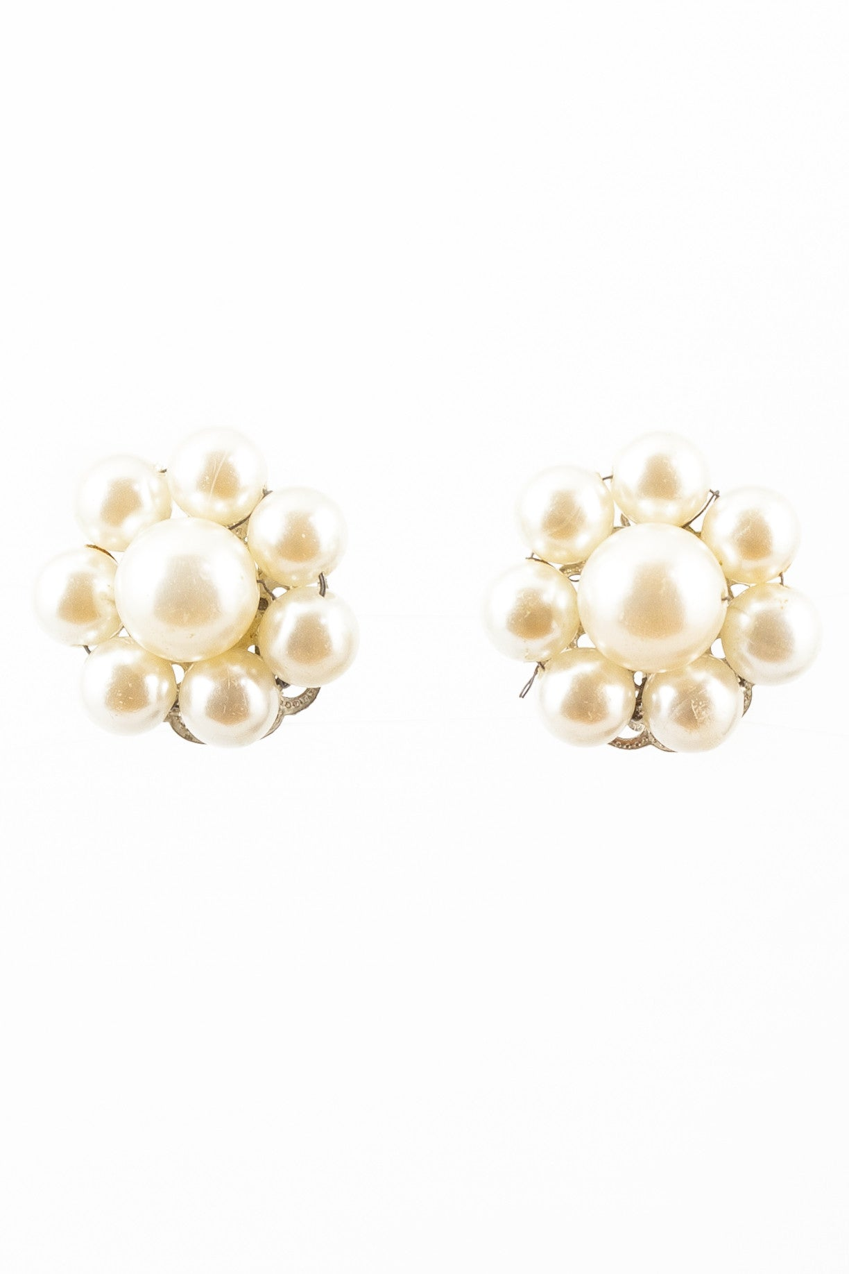 50's__Vintage__Pearl Floral Clips