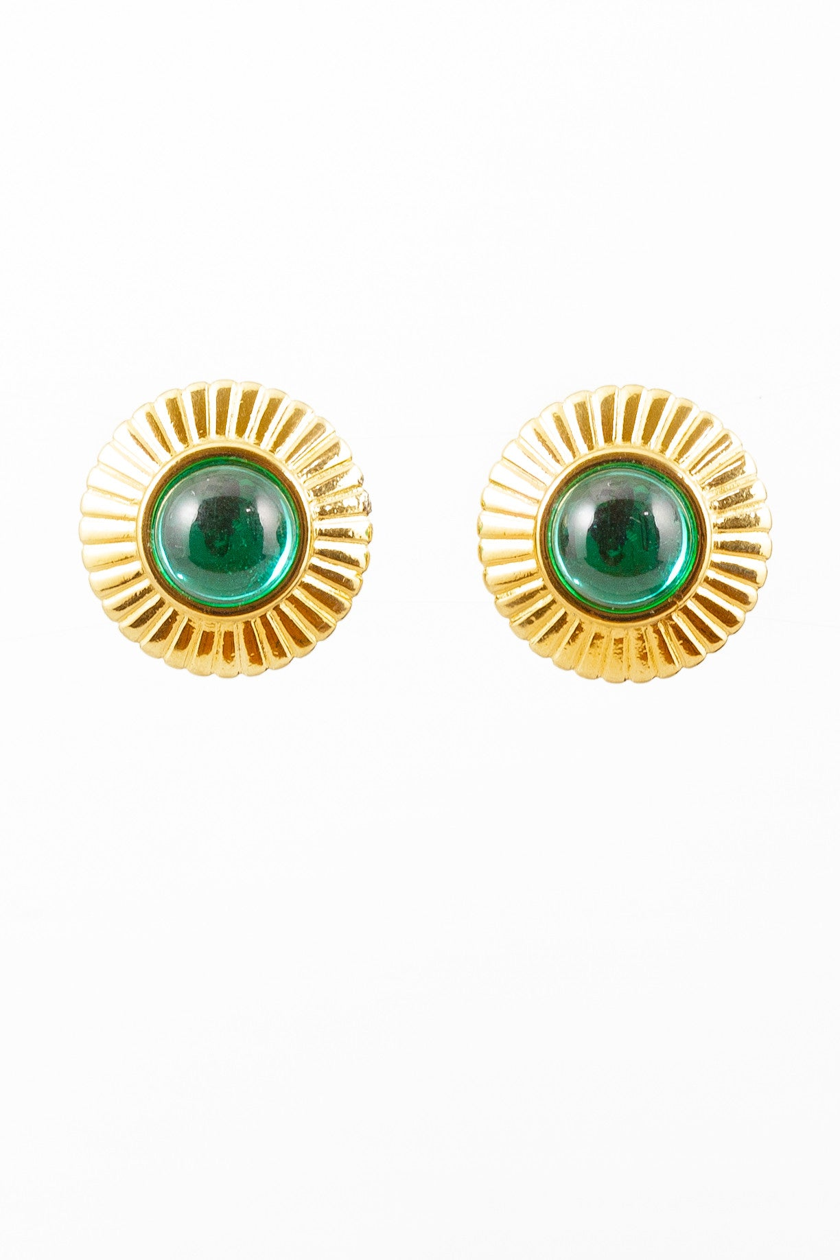 60's__Monet__Gold Set Emerald Clips