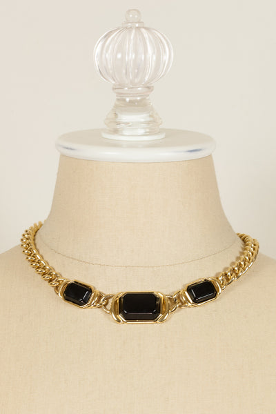 70's__Trifari__Black & Gold Chain Necklace