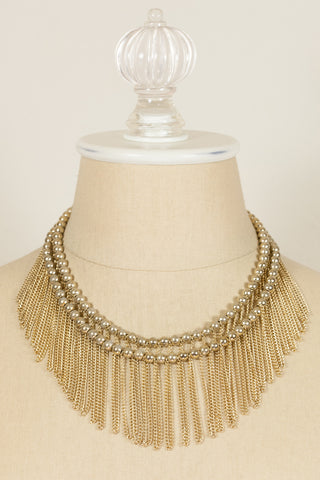 70's__Hobe__Double Fringe Necklace
