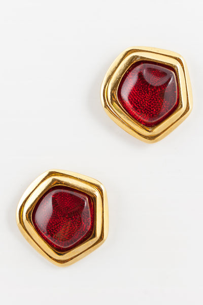 80's__Avon__Abstract Red Statement Earrings