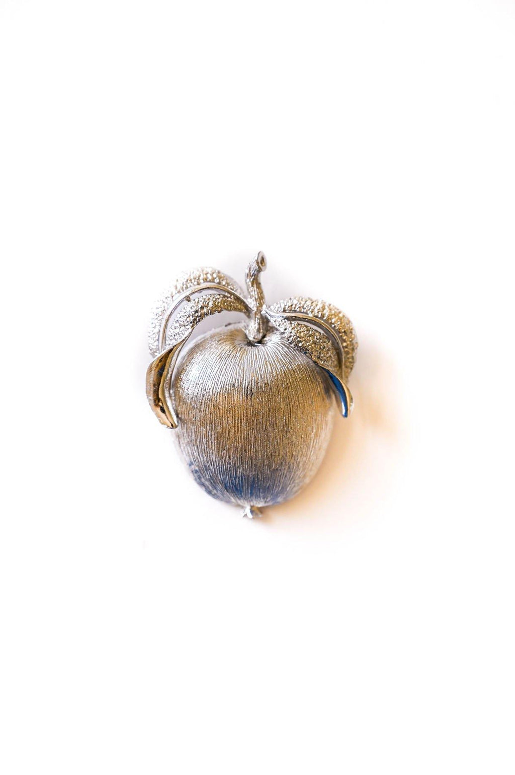 Brushed Silver Apple Brooch