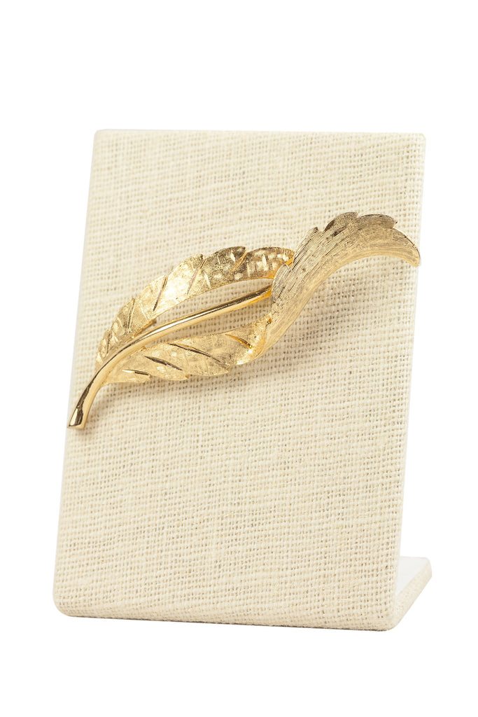 60's__Monet__Folded Leaf Brooch