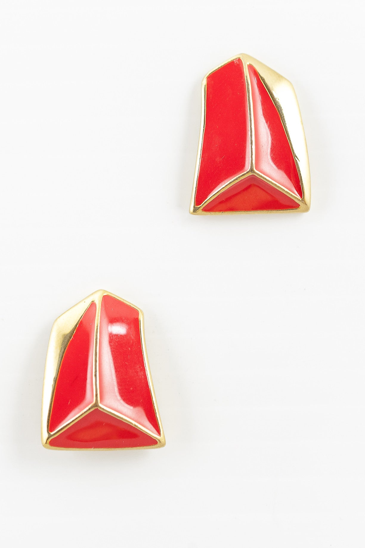 80's__Trifari__Abstract Red Triangle Earrings