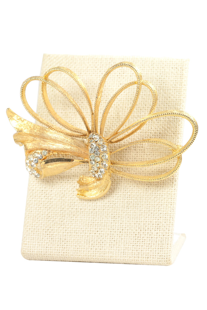 60's__BSK__Rhinestone Bow Statement Brooch