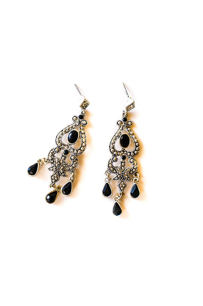 Black and Silver Embellished Pierced Earrings
