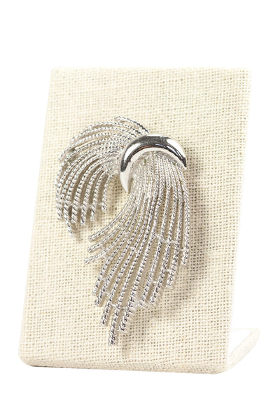 60's__Trifari__Silver Ribbon Brooch