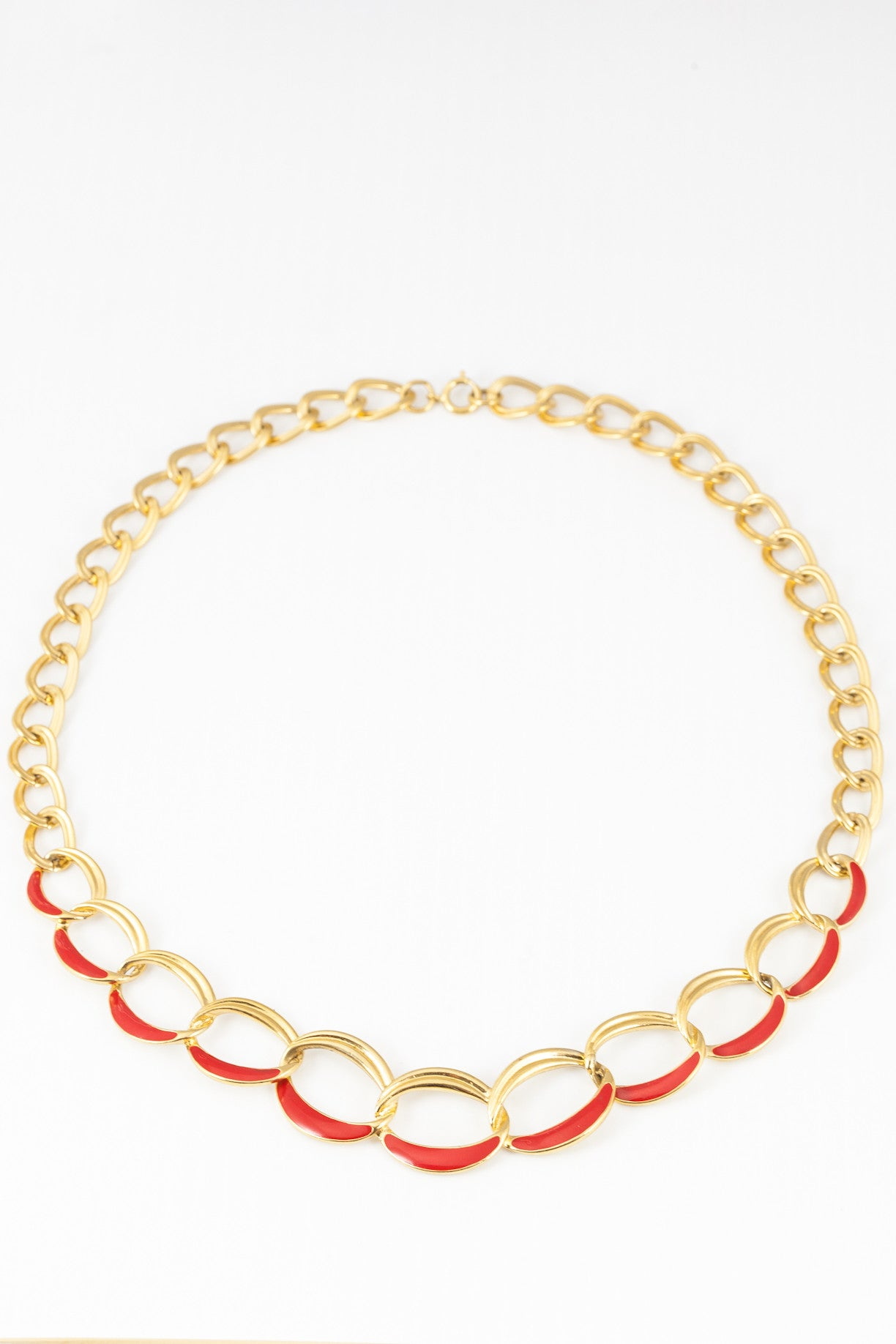 70's__Trifari__Red Enamel Link Necklace