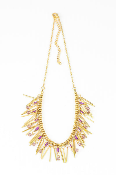 80's__Vintage__Gold & Purple Fringe Necklace