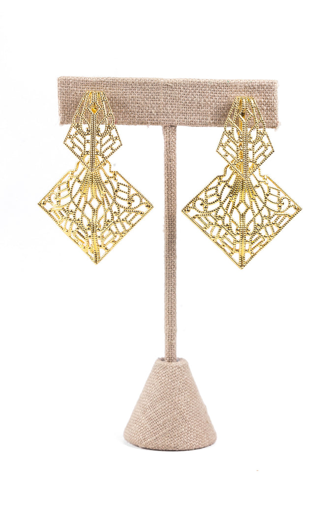 80's__Trifari__Open Lace Drop Clip-on Earrings